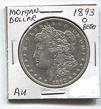 *1893-O Morgan Dollar AU Better Coin (JG 18930$j1816)