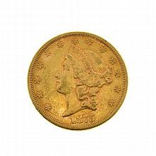 *1875 $20 U.S. Liberty Head Gold Coin (DF)