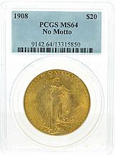*1908 $20 U.S Saint-Gaudens No Motto PCGS MS64 Gold Coin (DF)