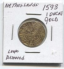 *1593 Netherlands 1 ducat gold Loop Removed Coin (JG N1ducatj1816)