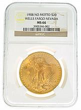 *1908 $20 U.S. Wells Fargo Nevada MS 66 NGC Saint Gaudens Gold Coin (DF)
