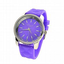 New Onyk, Stainless Steel Back, Water Resistant, Purple Rubber Strap, Ladies Watch