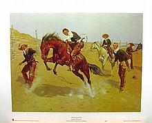 FREDERIC REMINGTON (After) Turn Him Loose Bill Print, 24'' x 19.5''