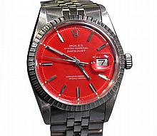 *Rolex Oyster Perpetual DateJust 1603 Red With Bracelet Watch