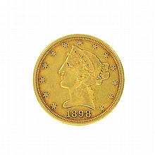 *1898-S $5 U.S. Liberty Head Gold Coin