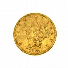 *1876-S $20 U.S. Liberty Head Gold Coin (DF)