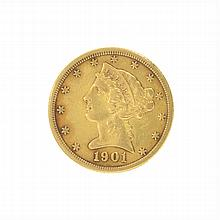 *1901 $5 U.S. Liberty Head Gold Coin