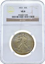 1921 Walking Liberty Half NGC VG8 Coin