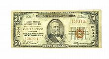 1929 $50 Bank Of America National Trust And Savings Association National Currency