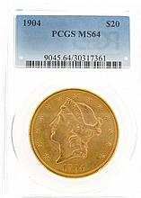 *1904 $20 U.S. PCGS MS 64 Liberty Head Gold Coin (DF)