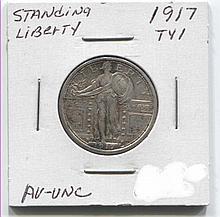 *1917 TYI Standing Lib 25c AU/Unc Coin (JG 1917ty125cj1816)