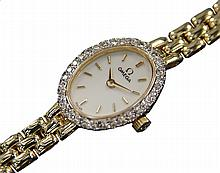 *Omega Ladies 14K Gold with Diamond Swiss Watch