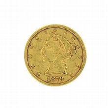 *1879 $5 U.S. Liberty Head Gold Coin