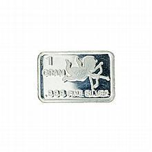 1 Gram Cupid Design .999 Fine Silver Bar