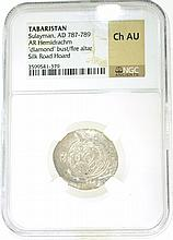 Tabaristan Sulayman, AD 787-789 Silk Road Hoard Ch AU NGC Coin