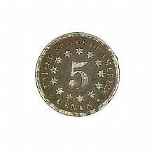 1868 Nickel Five Cent Piece Coin