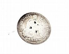 1874 Liberty Seated Arrows At Date Dime Coin
