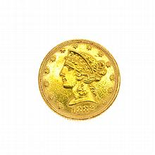1882 U.S. $5 Liberty Head Gold Coin