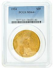 *1924 $20 U.S. PCGS MS64+ Saint Gaudens Gold Coin