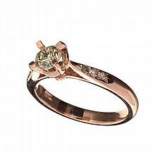 APP: 4.8k 14 kt. Rose Gold, 0.56CT Round Cut Diamond Ring
