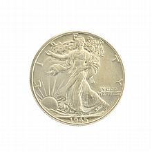 Rare Uncirculated 1945 Liberty Walking Half Dollar Coin