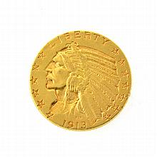 *1913 $5 U.S Indian Head Gold Coin (DF)