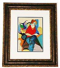 Tarkay- Framed Lithograph-Original Signature ''Waiting''