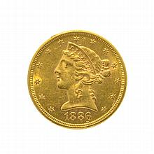 1886-S $5 U.S. Liberty Head Gold Coin