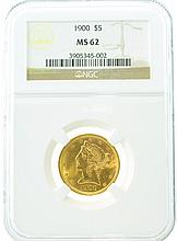 *1900 $5 MS 62 NGC Half Eagle Gold Coin (DF)