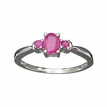 APP: 1.6k 1.00CT Mixed Cut Ruby And Platinum Over Sterling Silver Ring
