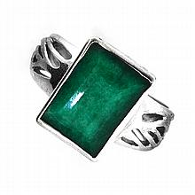 APP: 1.8k Designer Sebastian 6.32CT Emerald Cut Emerald and Sterling Silver Ring
