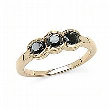 *1.16CT Round Cut Black Diamond And Sterling Silver, 14K Gold Over Lay Ring (Q QR2445BD116-SS14KY)