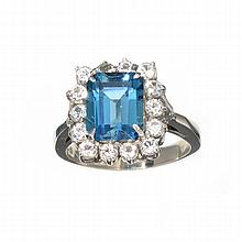 APP: 1k 6.23CT Blue Topaz And White Sapphire Sterling Silver Ring