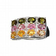 APP: 2.4k 3.72CT Oval Cut Multi-Colored, Multi Precious Gemstones And Platinum Over Sterling Silver Ring