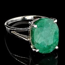 APP: 0.6k Designer Sebastian 9.10CT Oval Cut Green Beryl Emerald and Sterling Silver Ring
