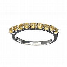 APP: 0.7k 0.75CT Round Cut Citrine Quartz And Platinum Over Sterling Silver Ring