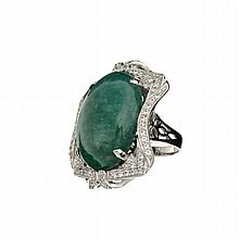 APP: 10k *31.54CT Oval Cut Cabochon Green Beryl Emerald And Sapphire Platinum Over Sterling Silver Ring (Romi)