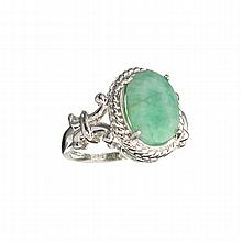 APP: 1.1k 3.95CT Bluish Green Emerald And Sterling Silver Ring