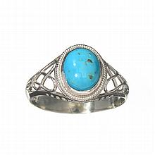 APP: 0.3k 1.94CT Cabochon Greenish Blue Turquoise And Sterling Silver Ring
