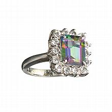 APP: 0.9k 4.34CT Multicolor Mystic Quartz And White Sapphire Sterling Silver Ring