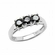 *1.19CT Round Cut Black Diamond And Sterling Silver With Rhodium Ring (Q QR2445BD119-SSR)