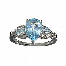 APP: 0.8k 2.50CT Pear Cut Blue Topaz And Platinum Over Sterling Silver Ring