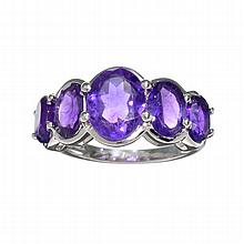 APP: 1k 1.50CT Oval Cut Purple Ametyst Quartz And Platinum Over Sterling Silver Ring
