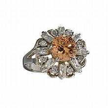 APP: 1.3k 2.00CT Orange Tourmaline And Swiss Cubic Zirconia Platinum Over Sterling Silver Ring