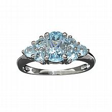 APP: 1.2k 2.37CT Light Blue Topaz And Platinum Over Sterling Silver Ring