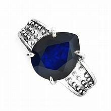 APP: 5.9k Designer Sebastian 5.96CT Pear Cut Blue Sapphire and Sterling Silver Ring