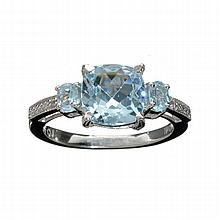 APP: 0.9k 3.00CT Mixed Cut Blue Topaz And Platinum Over Sterling Silver Ring
