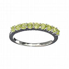 APP: 0.8k 0.75CT Round Cut Green Peridot And Platinum Over Sterling Silver Ring