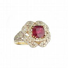 APP: 4.4k *14KT Gold, 2.60CT Cushion Cut Ruby And 1.28CT Round Brilliant Cut Diamond Ring (Rami RN018836)