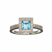 APP: 1.4k 14KT White Gold, Square Cut Blue Topaz And Diamond Ring